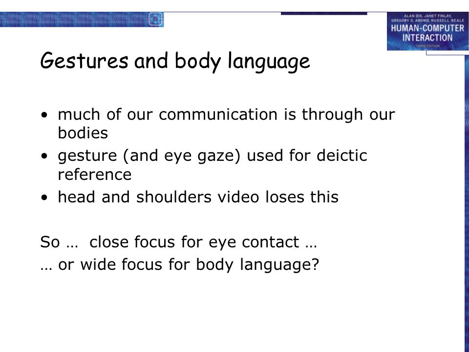 Gestures and body language much of our communication is through our bodies gesture (and eye gaze) used for deictic reference head and shoulders video