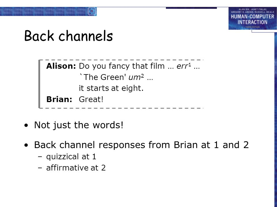 Back channels Alison:Do you fancy that film … err 1 … `The Green' um 2 … it starts at eight. Brian:Great! Not just the words! Back channel responses f