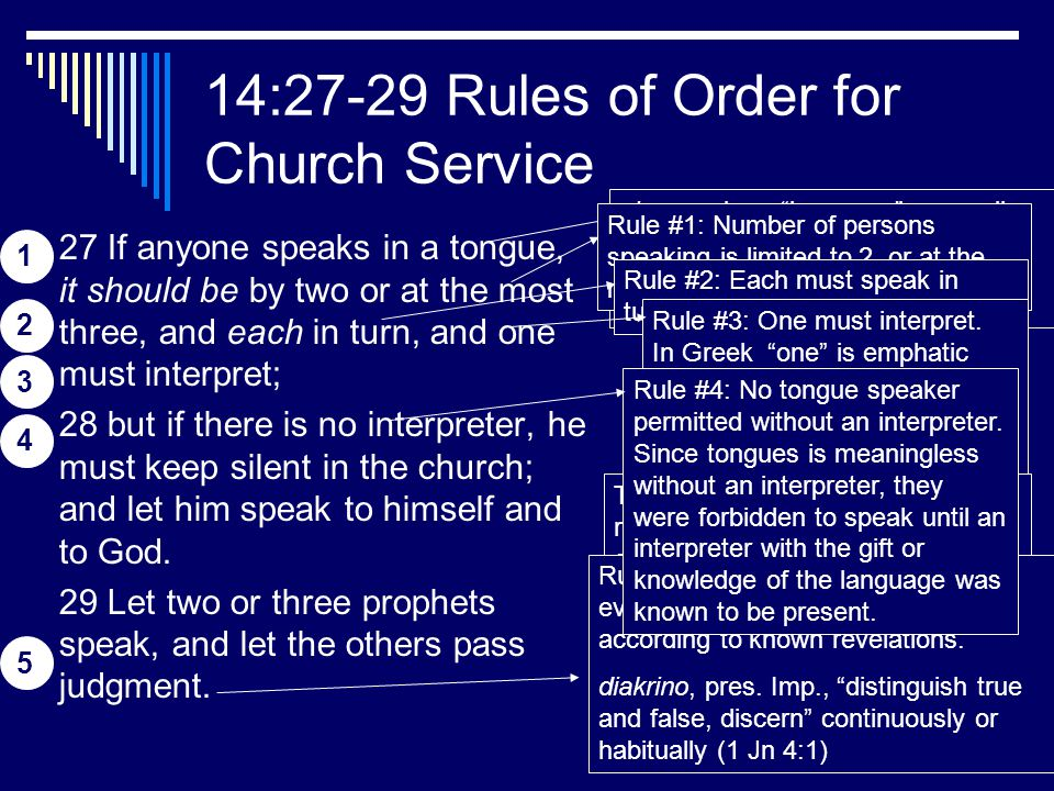 19 14:27-29 Rules of Order for Church Service 27 If anyone speaks in a tongue, it should be by two or at the most three, and each in turn, and one mus