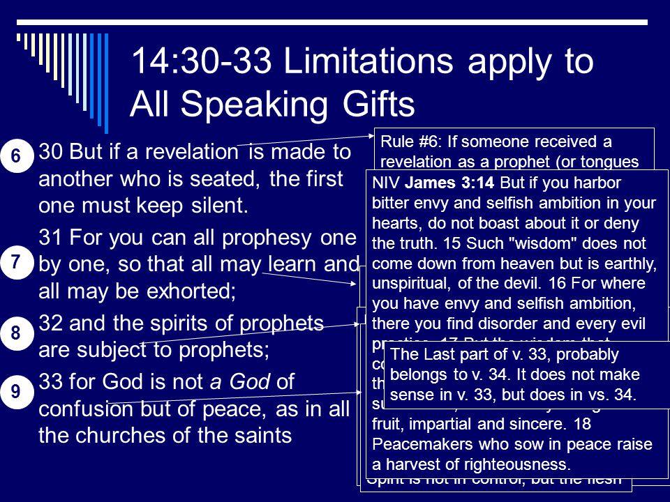 20 14:30-33 Limitations apply to All Speaking Gifts 30 But if a revelation is made to another who is seated, the first one must keep silent.