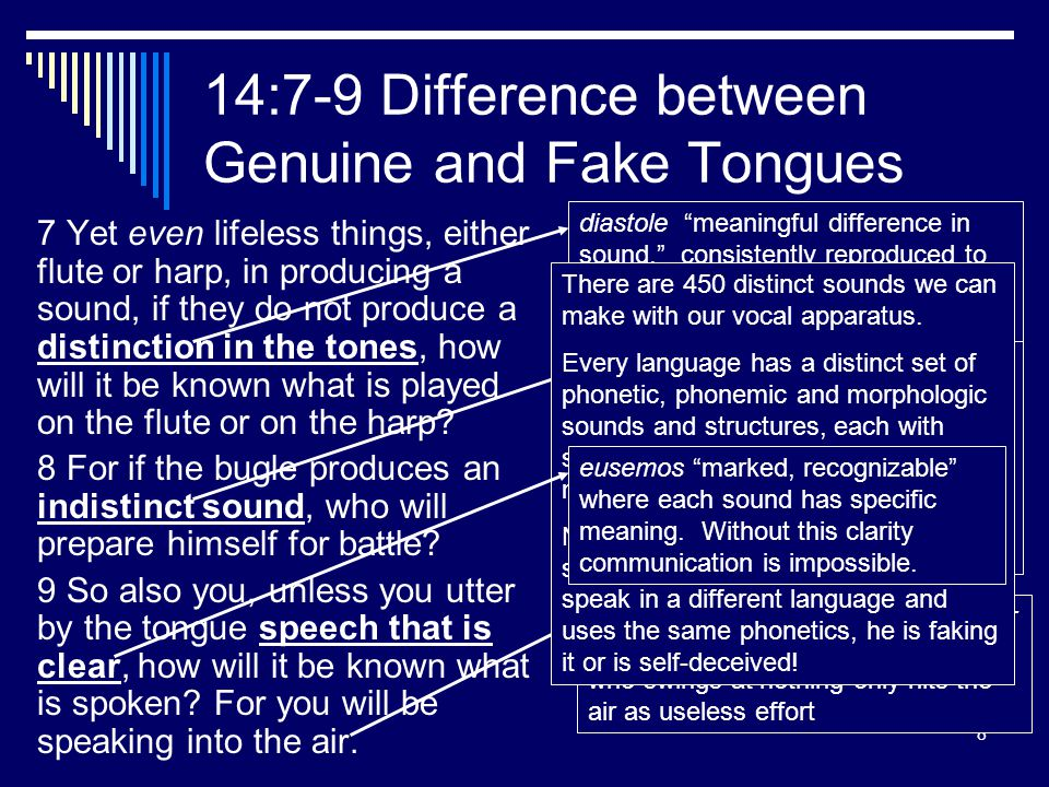 8 14:7-9 Difference between Genuine and Fake Tongues 7 Yet even lifeless things, either flute or harp, in producing a sound, if they do not produce a distinction in the tones, how will it be known what is played on the flute or on the harp.