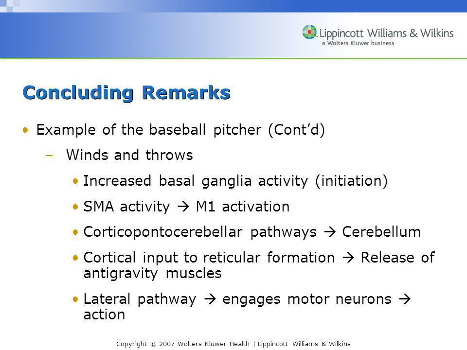 Copyright © 2007 Wolters Kluwer Health | Lippincott Williams & Wilkins Concluding Remarks Example of the baseball pitcher (Cont'd) –Winds and throws I
