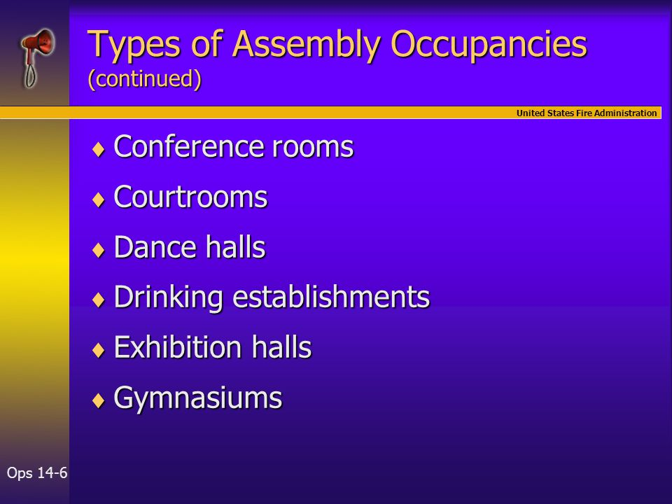 United States Fire Administration Ops 14-6 Types of Assembly Occupancies (continued)  Conference rooms  Courtrooms  Dance halls  Drinking establishments  Exhibition halls  Gymnasiums