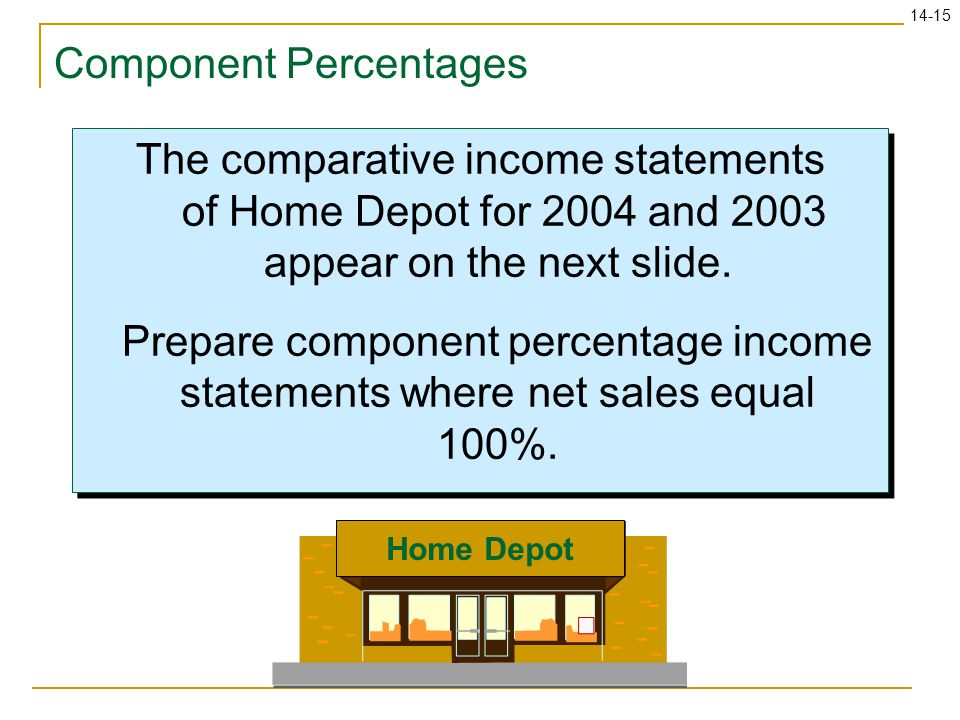 14-15 Component Percentages The comparative income statements of Home Depot for 2004 and 2003 appear on the next slide. Prepare component percentage i