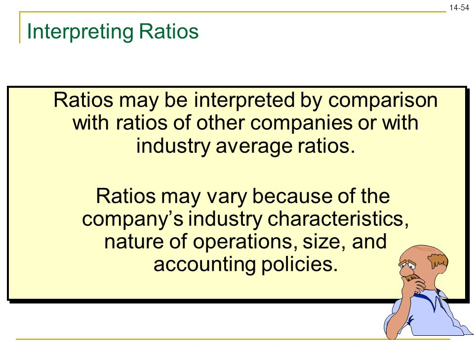 14-54 Interpreting Ratios Ratios may be interpreted by comparison with ratios of other companies or with industry average ratios. Ratios may vary beca
