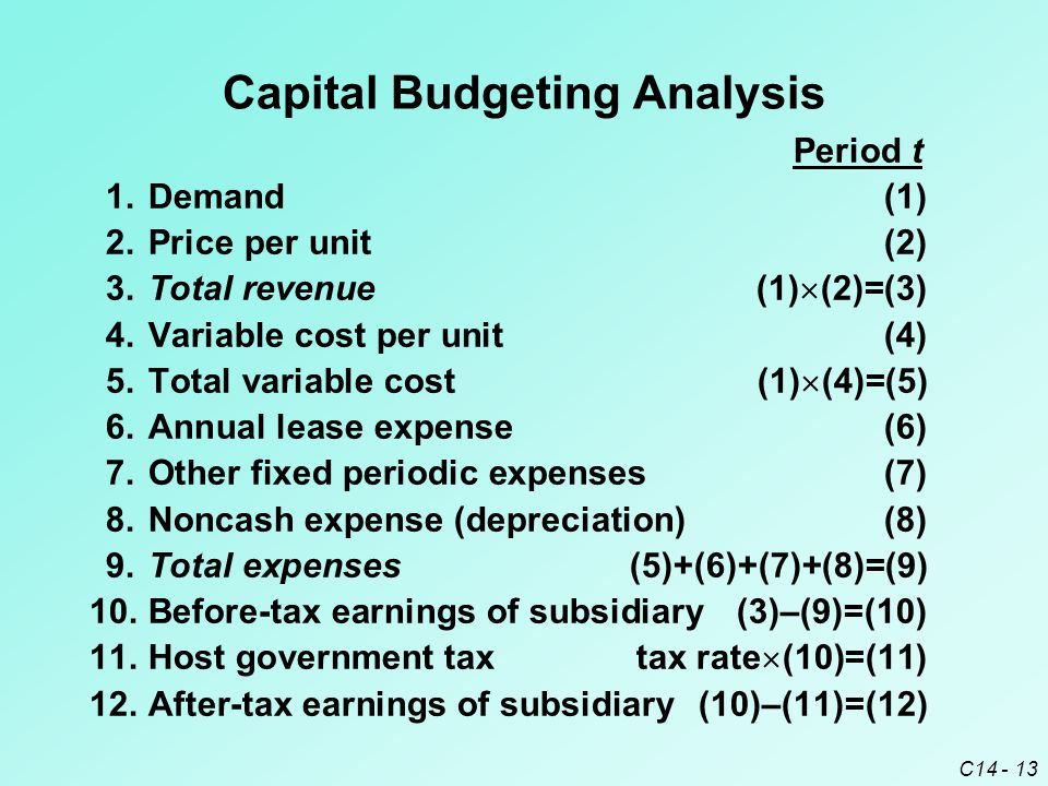 C14 - 14 Capital Budgeting Analysis Period t 13.Net cash flow to subsidiary (12)+(8)=(13) 14.Remittance to parent(14) 15.Tax on remitted fundstax rate  (14)=(15) 16.Remittance after withheld tax(14)–(15)=(16) 17.Salvage value(17) 18.Exchange rate(18) 19.Cash flow to parent(16)  (18)+(17)  (18)=(19) 20.Investment by parent(20) 21.Net cash flow to parent(19)–(20)=(21) 22.PV of net cash flow to parent(1+k) - t  (21)=(22) 23.Cumulative NPV  PVs=(23)