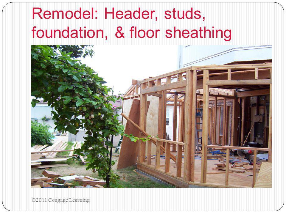 Remodel: Header, studs, foundation, & floor sheathing ©2011 Cengage Learning