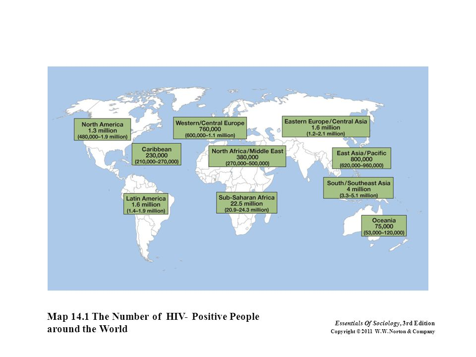 Map 14.1 The Number of HIV- Positive People around the World Essentials Of Sociology, 3rd Edition Copyright © 2011 W.W. Norton & Company