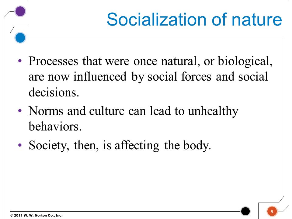 © 2011 W. W. Norton Co., Inc. Socialization of nature Processes that were once natural, or biological, are now influenced by social forces and social