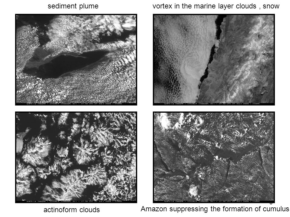 5 actinoform clouds Amazon suppressing the formation of cumulus vortex in the marine layer clouds, snowsediment plume