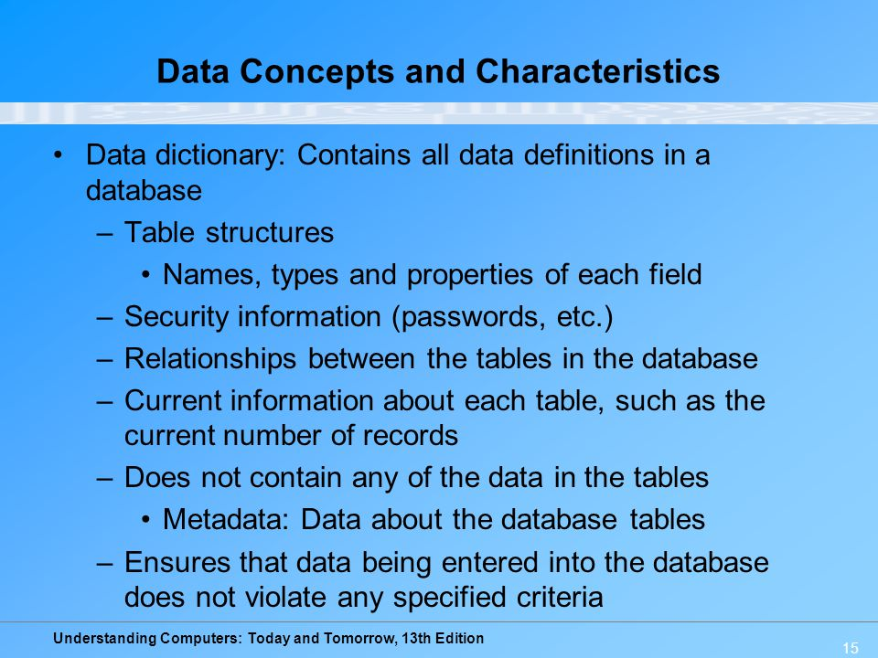Understanding Computers: Today and Tomorrow, 13th Edition 15 Data Concepts and Characteristics Data dictionary: Contains all data definitions in a dat