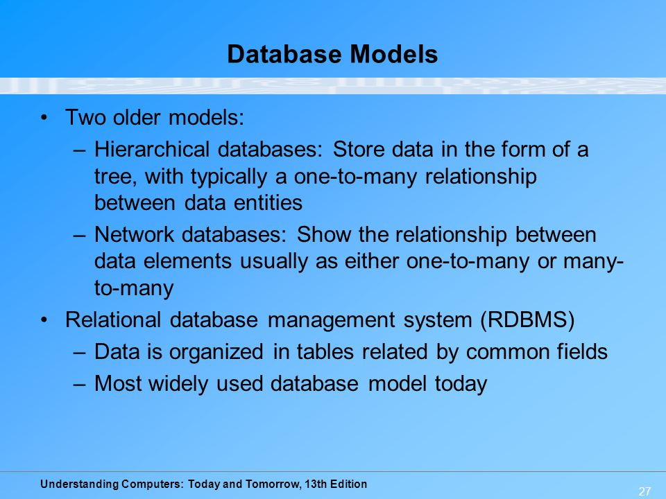 Understanding Computers: Today and Tomorrow, 13th Edition 27 Database Models Two older models: –Hierarchical databases: Store data in the form of a tr