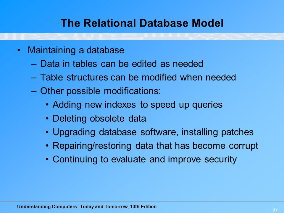 Understanding Computers: Today and Tomorrow, 13th Edition 37 The Relational Database Model Maintaining a database –Data in tables can be edited as nee