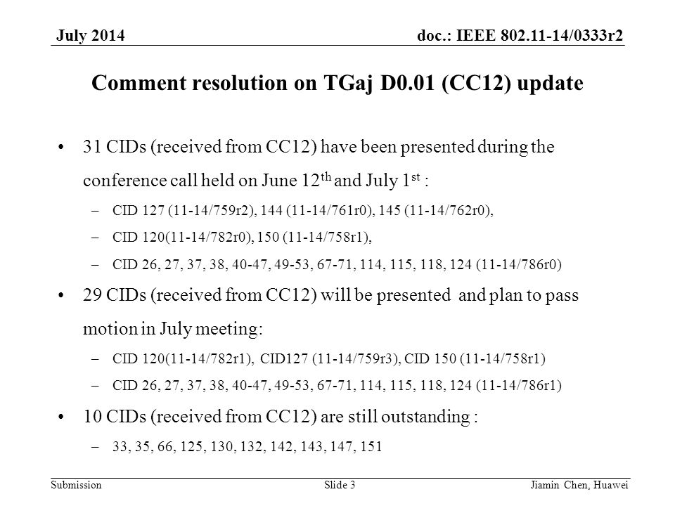 doc.: IEEE 802.11-14/0333r2 Submission July 2014 Comment resolution on TGaj D0.01 (CC12) update Jiamin Chen, HuaweiSlide 3 31 CIDs (received from CC12