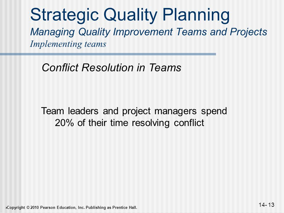  Copyright © 2010 Pearson Education, Inc. Publishing as Prentice Hall. 14- 13 Strategic Quality Planning Managing Quality Improvement Teams and Proje
