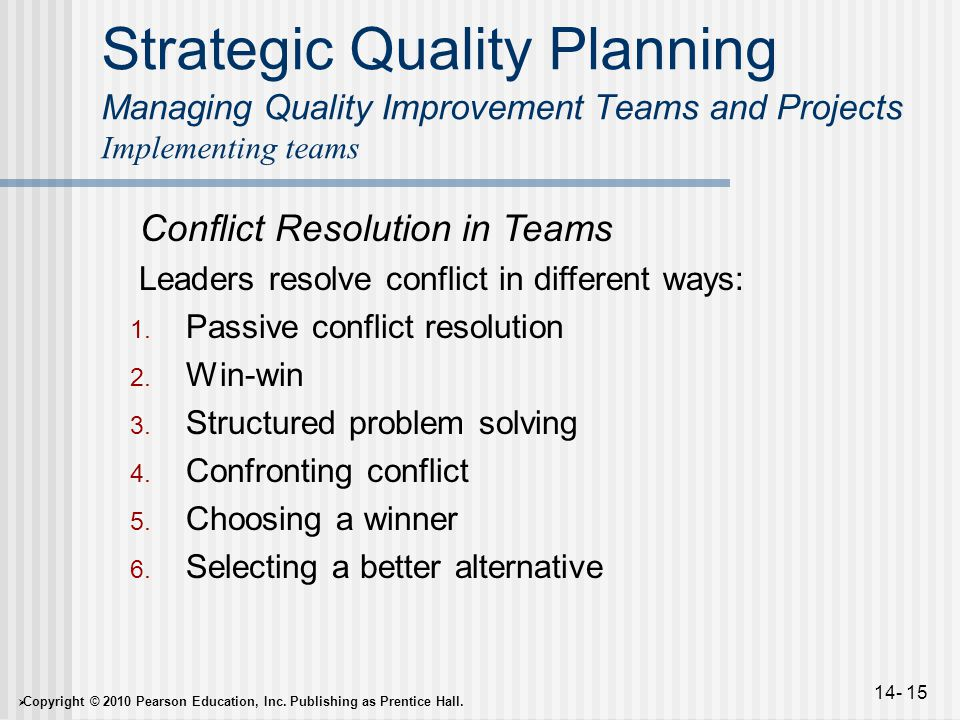  Copyright © 2010 Pearson Education, Inc. Publishing as Prentice Hall. 14- 15 Strategic Quality Planning Managing Quality Improvement Teams and Proje