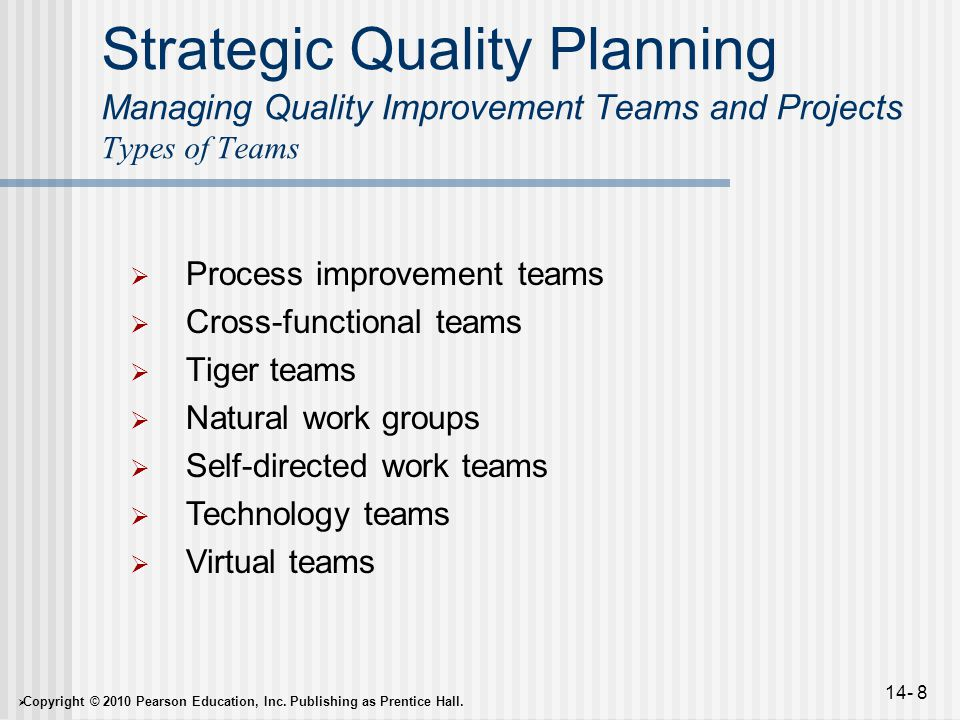  Copyright © 2010 Pearson Education, Inc. Publishing as Prentice Hall. 14- 8 Strategic Quality Planning Managing Quality Improvement Teams and Projec