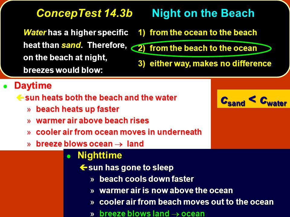 ConcepTest 14.3bNight on the Beach Daytime l Daytime ç sun heats both the beach and the water » beach heats up faster » warmer air above beach rises »