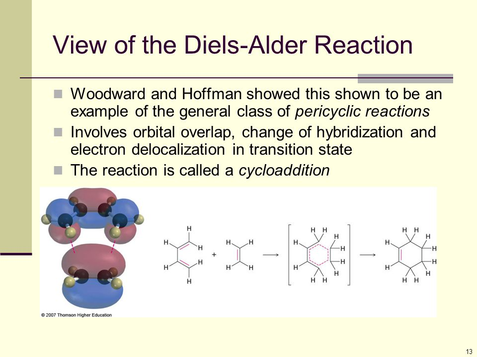 13 View of the Diels-Alder Reaction Woodward and Hoffman showed this shown to be an example of the general class of pericyclic reactions Involves orbi