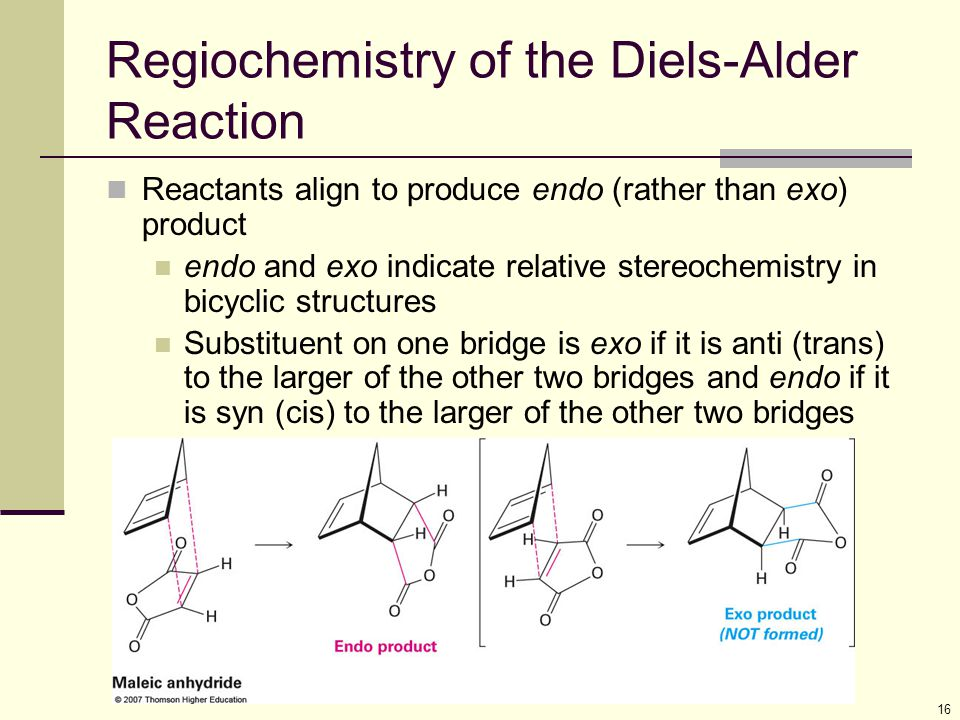 16 Regiochemistry of the Diels-Alder Reaction Reactants align to produce endo (rather than exo) product endo and exo indicate relative stereochemistry