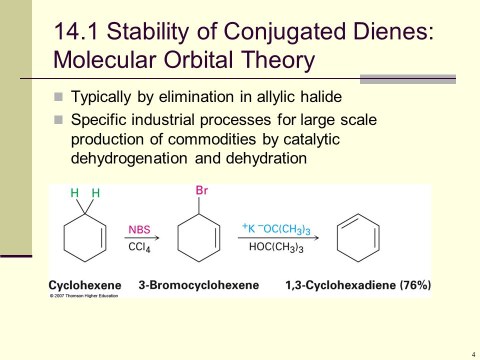 4 14.1 Stability of Conjugated Dienes: Molecular Orbital Theory Typically by elimination in allylic halide Specific industrial processes for large sca