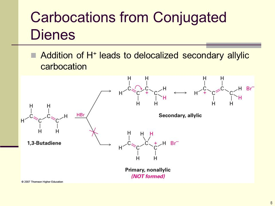 8 Carbocations from Conjugated Dienes Addition of H + leads to delocalized secondary allylic carbocation