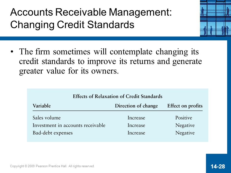Copyright © 2009 Pearson Prentice Hall. All rights reserved. 14-28 Accounts Receivable Management: Changing Credit Standards The firm sometimes will c