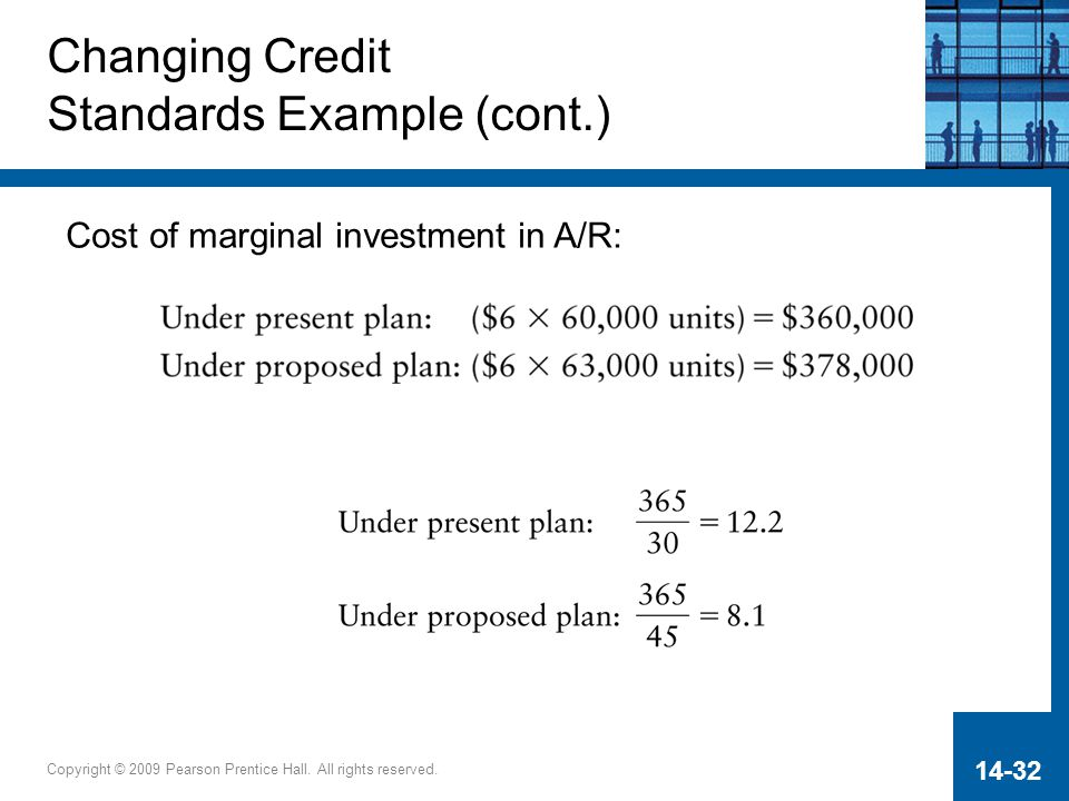 Copyright © 2009 Pearson Prentice Hall. All rights reserved. 14-32 Changing Credit Standards Example (cont.) Cost of marginal investment in A/R: