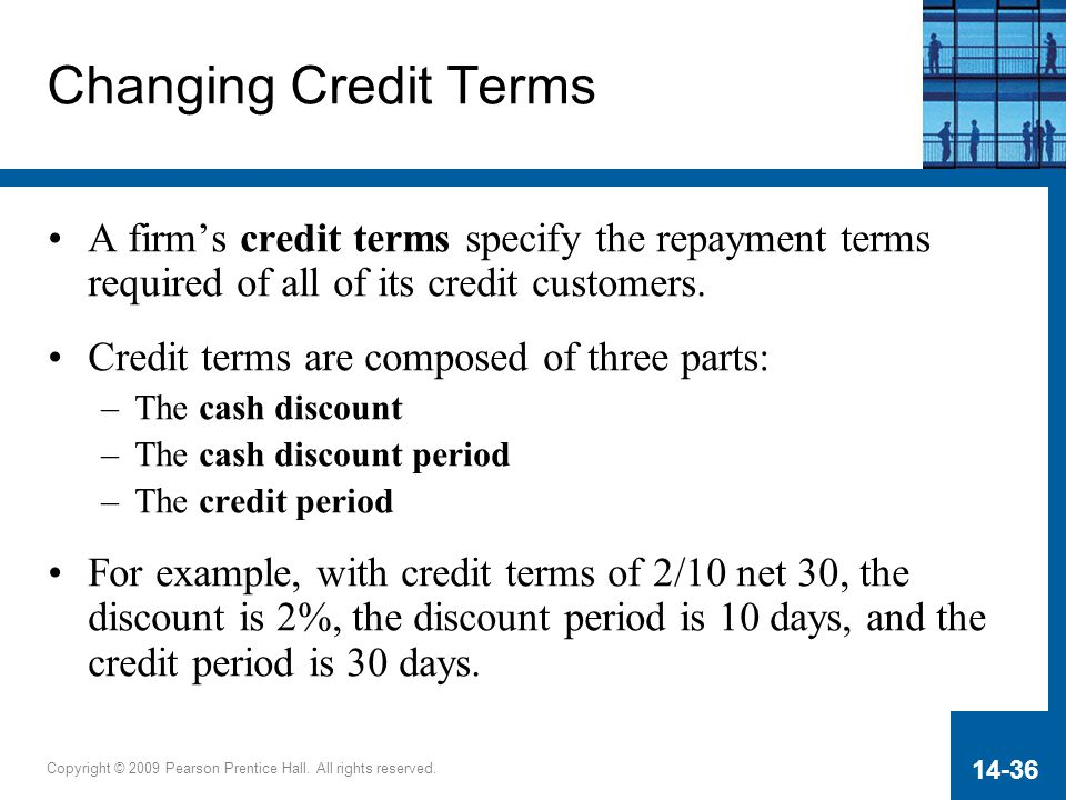 Copyright © 2009 Pearson Prentice Hall. All rights reserved. 14-36 Changing Credit Terms A firm's credit terms specify the repayment terms required of