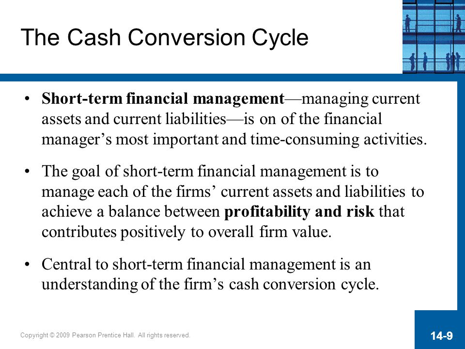 Copyright © 2009 Pearson Prentice Hall. All rights reserved. 14-9 The Cash Conversion Cycle Short-term financial management—managing current assets an