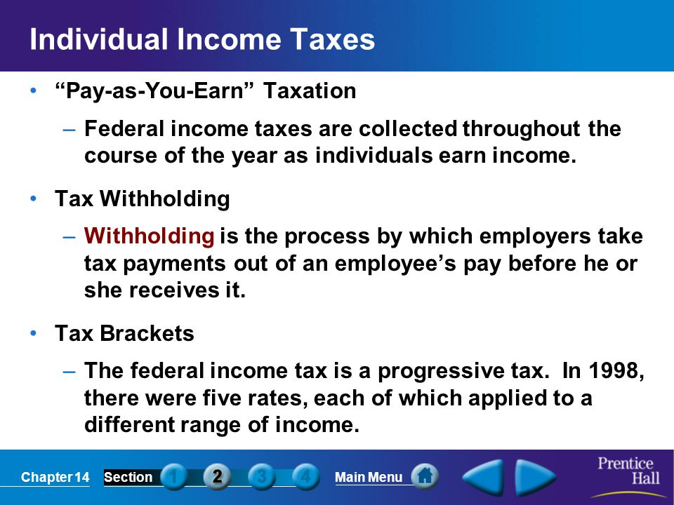"""Chapter 14SectionMain Menu Individual Income Taxes """"Pay-as-You-Earn"""" Taxation –Federal income taxes are collected throughout the course of the year as"""