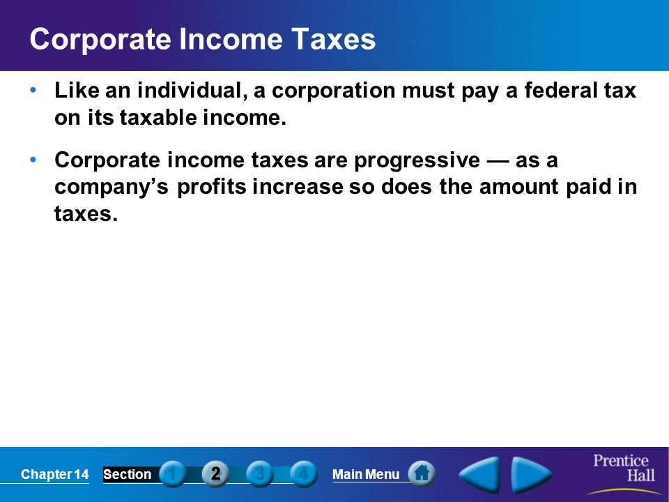 Chapter 14SectionMain Menu Corporate Income Taxes Like an individual, a corporation must pay a federal tax on its taxable income. Corporate income tax