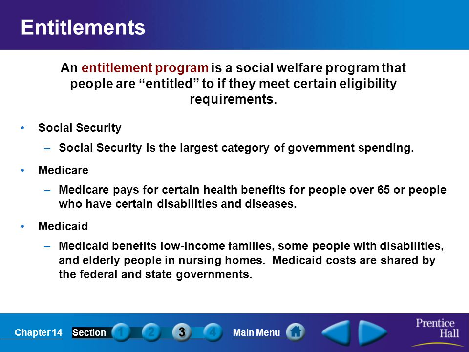Chapter 14SectionMain Menu Entitlements Social Security –Social Security is the largest category of government spending. Medicare –Medicare pays for c