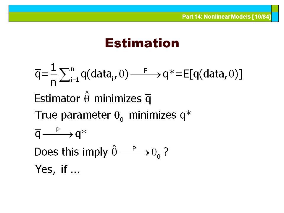 Part 14: Nonlinear Models [ 10/84] Estimation