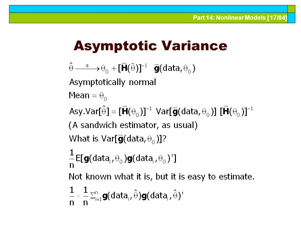 Part 14: Nonlinear Models [ 17/84] Asymptotic Variance