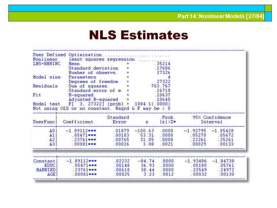 Part 14: Nonlinear Models [ 27/84] NLS Estimates