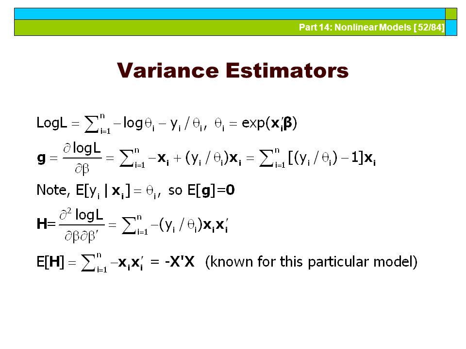 Part 14: Nonlinear Models [ 52/84] Variance Estimators