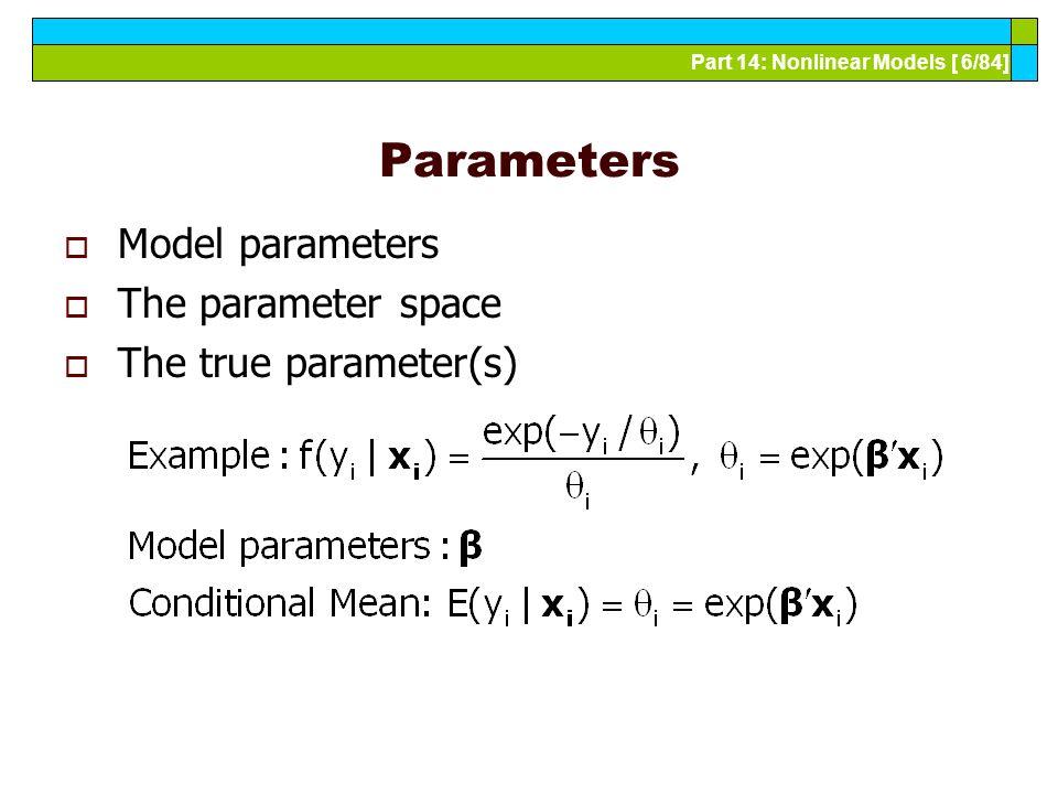 Part 14: Nonlinear Models [ 6/84] Parameters  Model parameters  The parameter space  The true parameter(s)