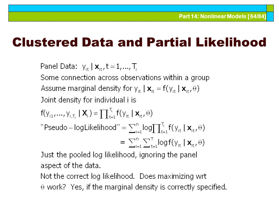 Part 14: Nonlinear Models [ 64/84] Clustered Data and Partial Likelihood