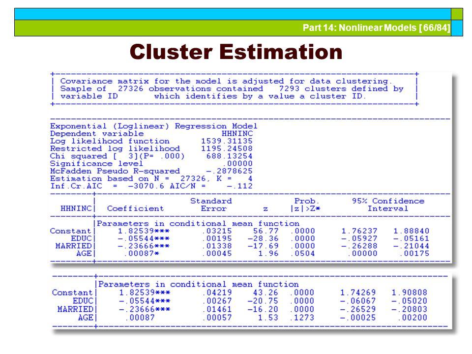 Part 14: Nonlinear Models [ 66/84] Cluster Estimation