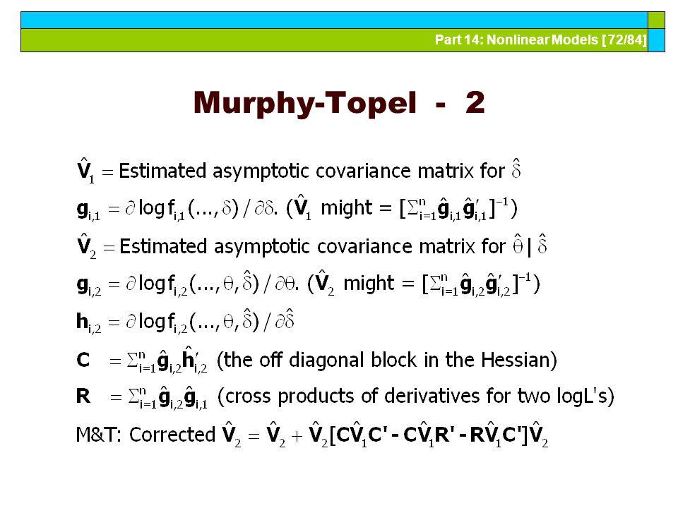 Part 14: Nonlinear Models [ 72/84] Murphy-Topel - 2
