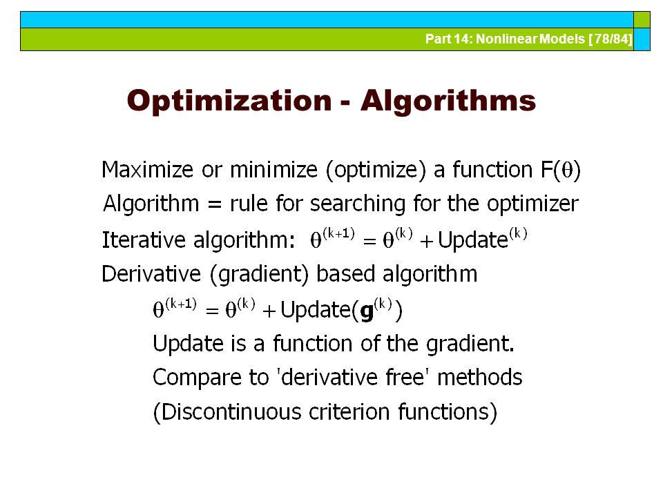 Part 14: Nonlinear Models [ 78/84] Optimization - Algorithms