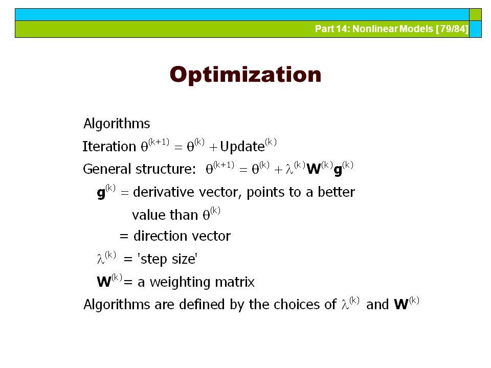 Part 14: Nonlinear Models [ 79/84] Optimization