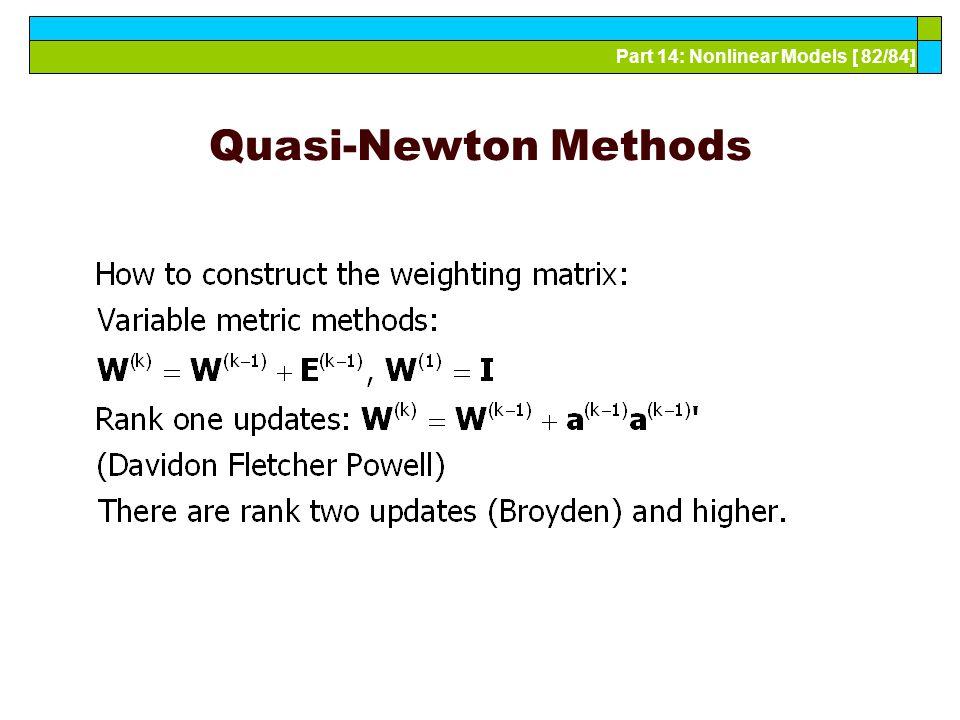 Part 14: Nonlinear Models [ 82/84] Quasi-Newton Methods