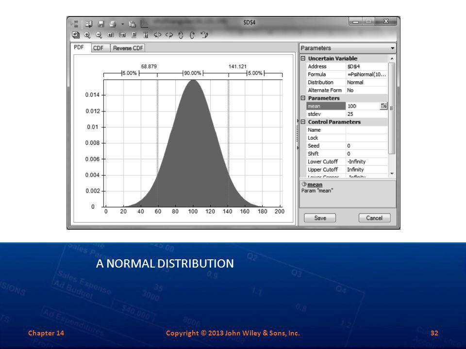 A NORMAL DISTRIBUTION Chapter 14Copyright © 2013 John Wiley & Sons, Inc.32