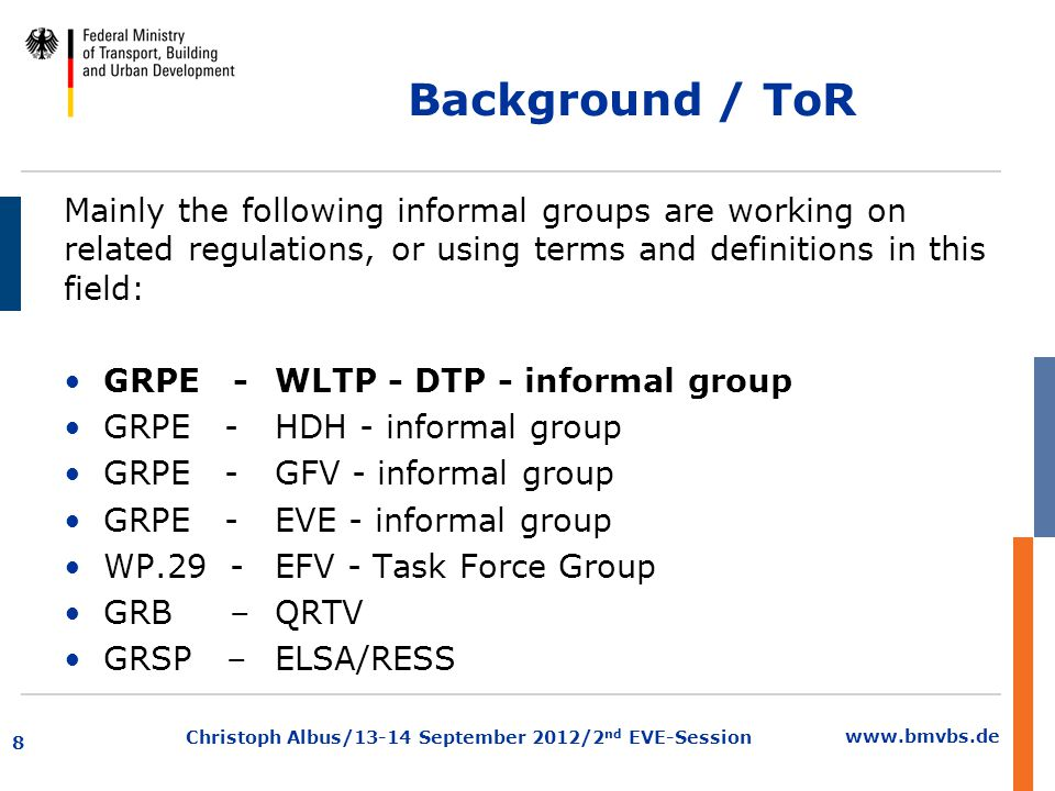 www.bmvbs.de Christoph Albus/13-14 September 2012/2 nd EVE-Session Terms of reference (a)The IWG on Vehicle Propulsion Systems Definitions (IWG-VPSD) under GRPE chaired by Germany, participation is open for everybody.
