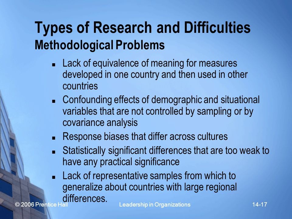© 2006 Prentice Hall Leadership in Organizations14-17 Types of Research and Difficulties Methodological Problems Lack of equivalence of meaning for measures developed in one country and then used in other countries Confounding effects of demographic and situational variables that are not controlled by sampling or by covariance analysis Response biases that differ across cultures Statistically significant differences that are too weak to have any practical significance Lack of representative samples from which to generalize about countries with large regional differences.