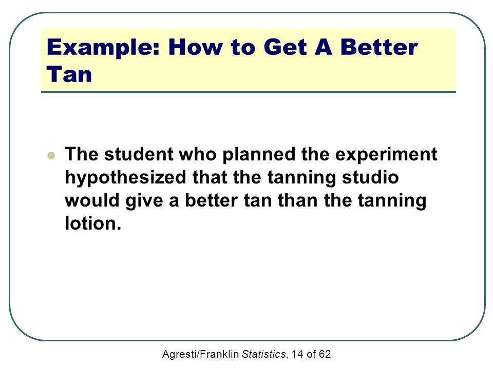 Agresti/Franklin Statistics, 14 of 62 Example: How to Get A Better Tan The student who planned the experiment hypothesized that the tanning studio wou