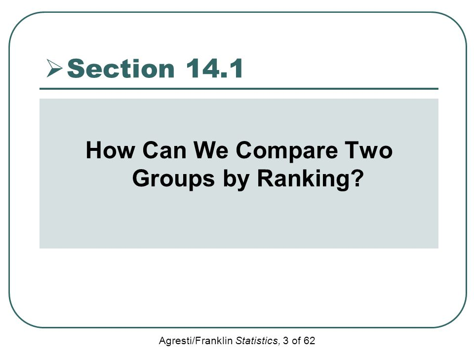 Agresti/Franklin Statistics, 3 of 62  Section 14.1 How Can We Compare Two Groups by Ranking?