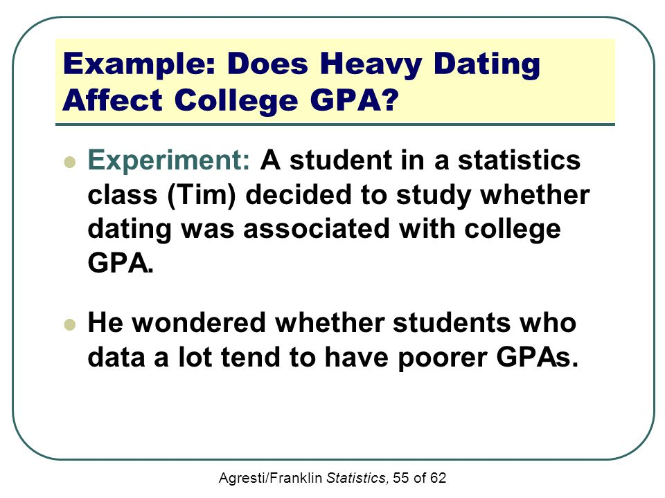 Agresti/Franklin Statistics, 55 of 62 Example: Does Heavy Dating Affect College GPA? Experiment: A student in a statistics class (Tim) decided to stud